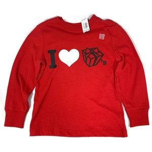Old Navy Long Sleeve Top Red I Love Presents Sz 4T
